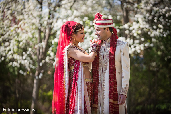Portraits of the bride and groom in North Haledon, NJ Indian Wedding by Fotoimpressions