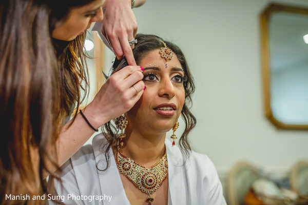 Getting ready in West Orange, NJ Indian Wedding by Manish and Sung Photography