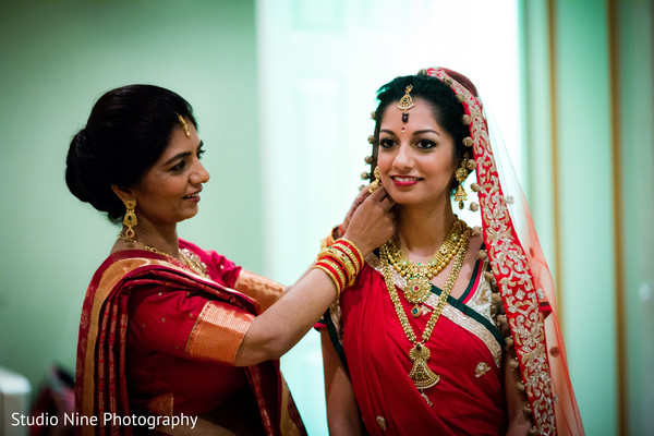 Getting ready in Woodland Park, NJ Indian Wedding by Studio Nine Photography + Cinema