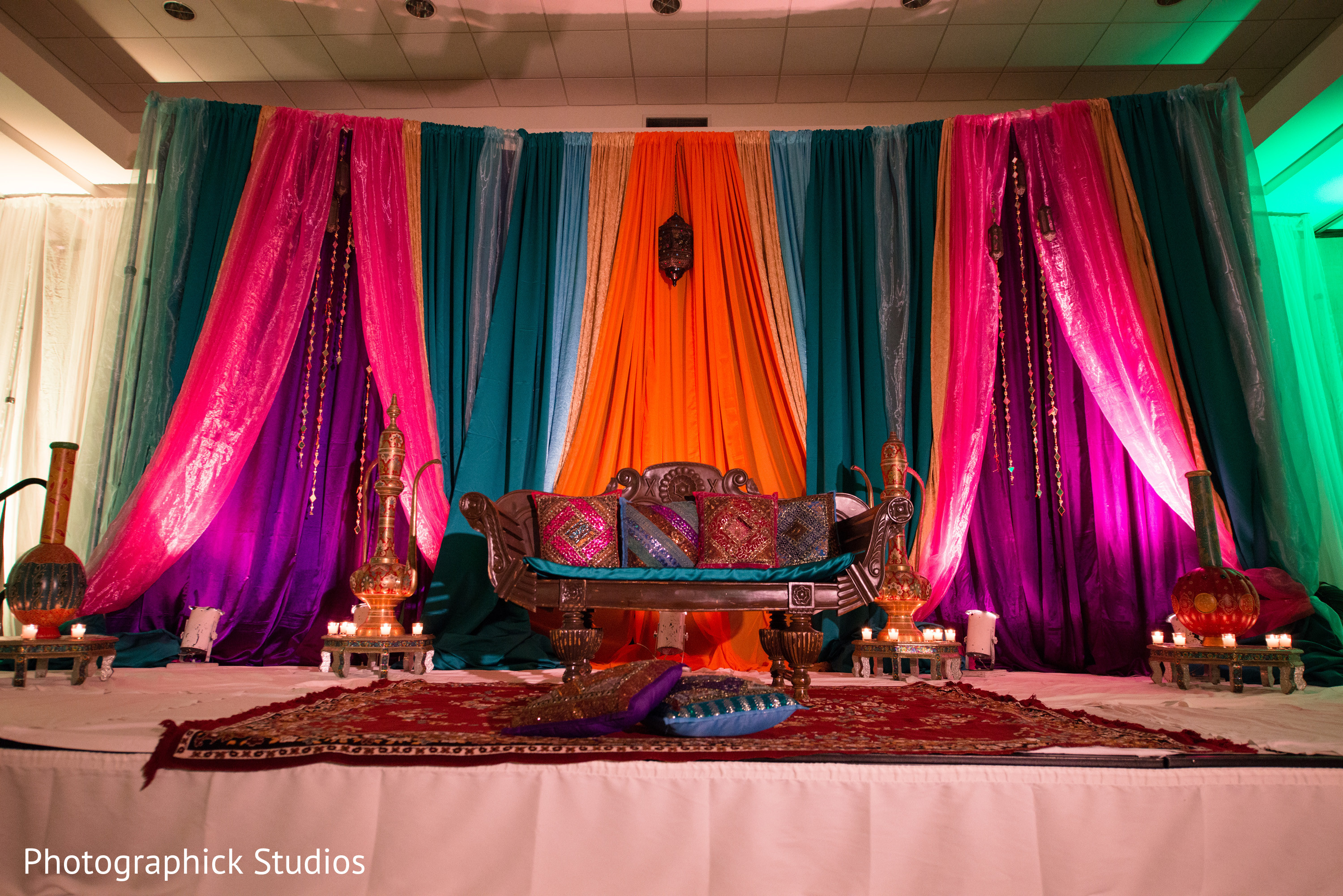 Sangeet in baltimore md indian wedding by photographick for Background decoration for indian wedding