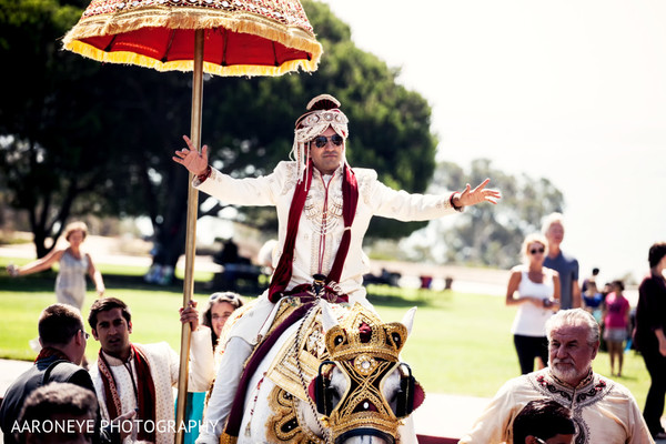 Baraat in Dana Point, CA Indian Wedding by Aaroneye Photography