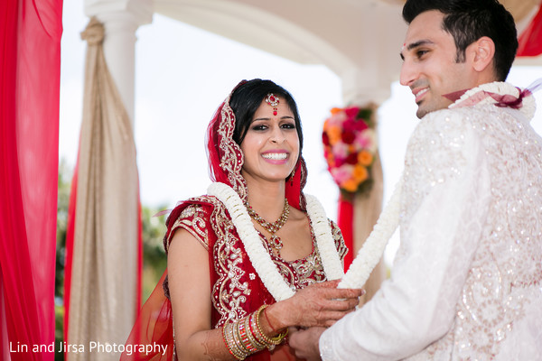 Wedding ceremony in Newport Beach, CA Indian Wedding by Lin and Jirsa Photography