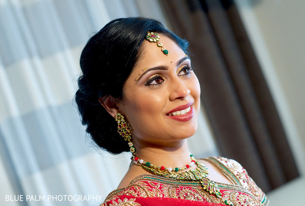 Portraits of the bride in Potomac, MD Indian Wedding by Blue Palm Photography