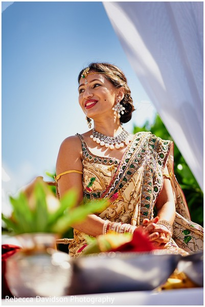Ceremony in Grand Cayman Indian Destination Wedding by Rebecca Davidson Photography