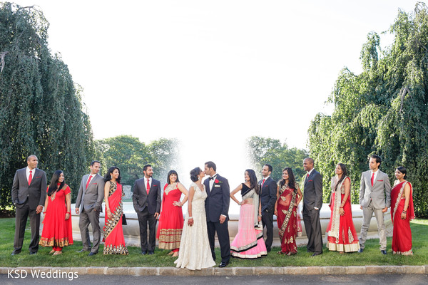 Bridal Party in Greenwich, CT Indian Wedding by KSD Weddings