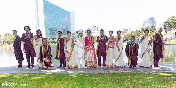 Wedding party portraits in Long Beach, CA Indian Wedding by RANDERYimagery