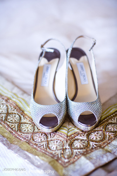 Bridal shoes in Chicago, IL Indian Fusion Wedding by Joseph Kang Photography