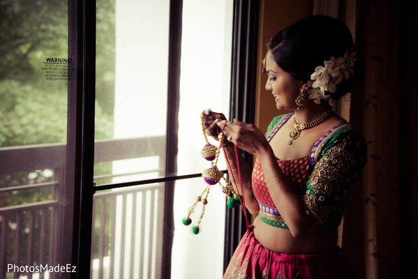 Getting ready in Park Ridge, NJ Indian Wedding by PhotosMadeEz
