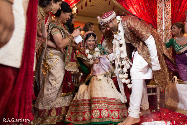 Ceremony in Oakbrook Terrace, Illinois Indian Wedding by R.A.G Artistry