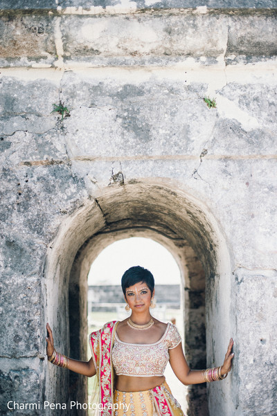 Bridal portraits in Nassau, Bahamas Indian Wedding Charmi Pena Photography
