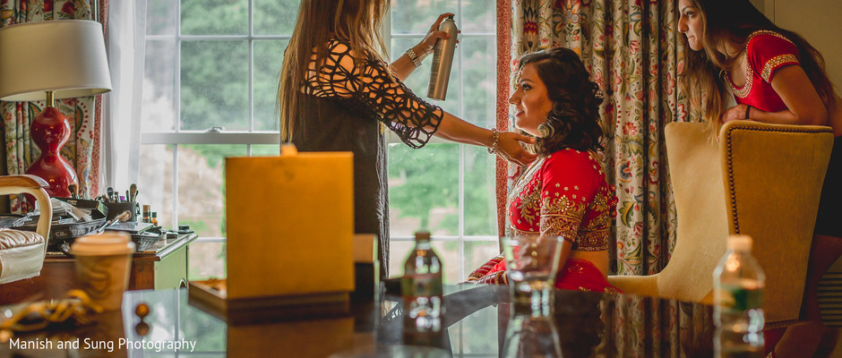 Getting ready in Pearl River, NY Indian Wedding by Manish and Sung Photography
