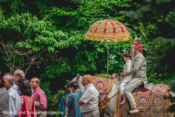 Baraat in Pearl River, NY Indian Wedding by Manish and Sung Photography
