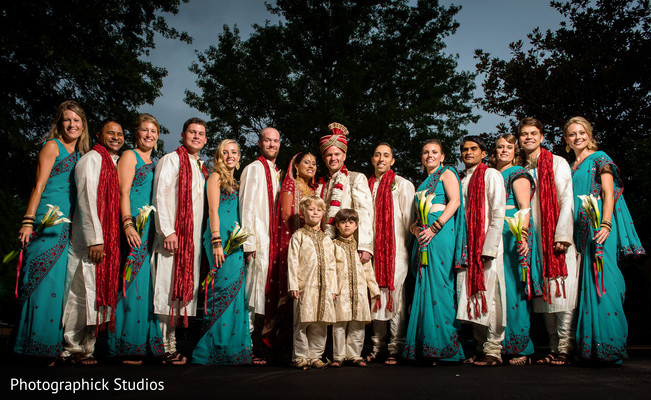 Wedding party portrait in Falls Church, VA Indian Fusion Wedding by Photographick Studios