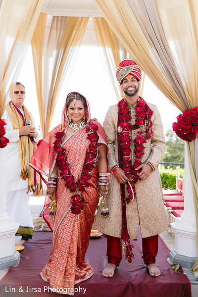 Ceremony in Newport Beach, CA Indian Wedding by Lin & Jirsa Photography