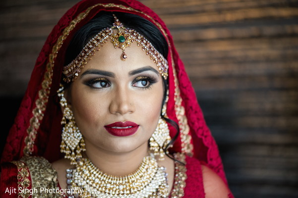 Bride portraits in Long Island, NY Indian Wedding by Ajit Singh Photography