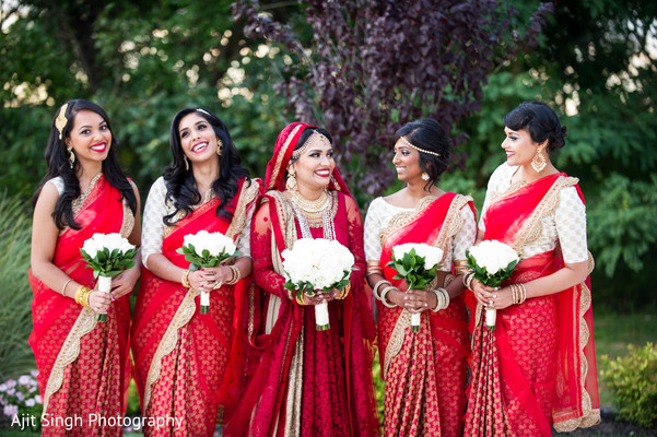 Bridal party in Long Island, NY Indian Wedding by Ajit Singh Photography