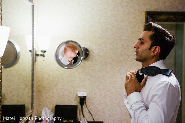 Groom getting ready in Newport Beach, CA Indian Wedding by Matei Horvath Photography