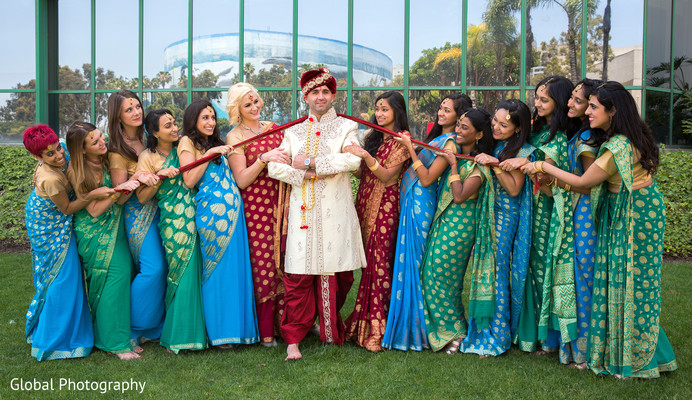Bridal party portrait in Long Beach, CA Indian Wedding by Global Photography