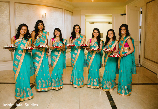 Bridal party in Prospect, CT Indian Wedding by Jashim Jalal Studios