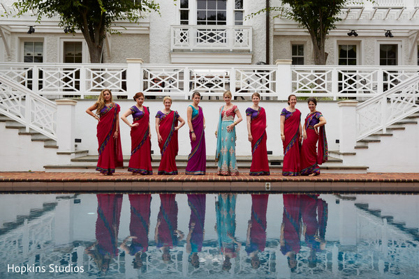 Bridal party in Charlottesville, VA Indian Fusion Wedding by Hopkins Studios