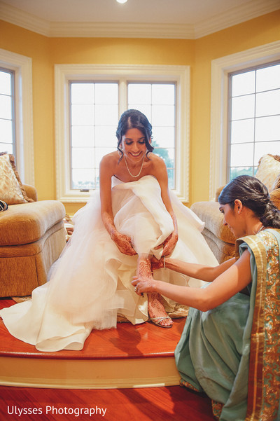 Getting Ready for Reception in Colts Neck, NJ Indian Wedding by Ulysses Photography