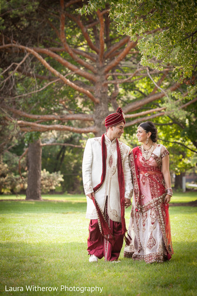 First Look in Chicago, IL Indian Fusion Wedding by Laura Witherow Photography