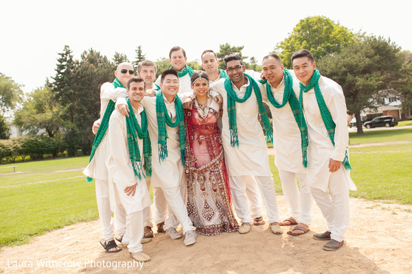 Groomsmen Portrait in Chicago, IL Indian Fusion Wedding by Laura Witherow Photography