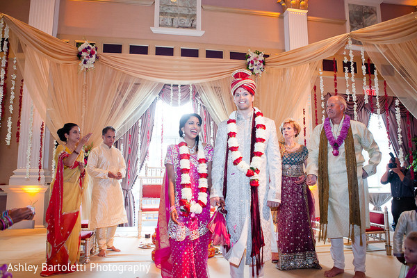 Ceremony in Somerset, NJ Indian Fusion Wedding by Ashley Bartoletti Photography