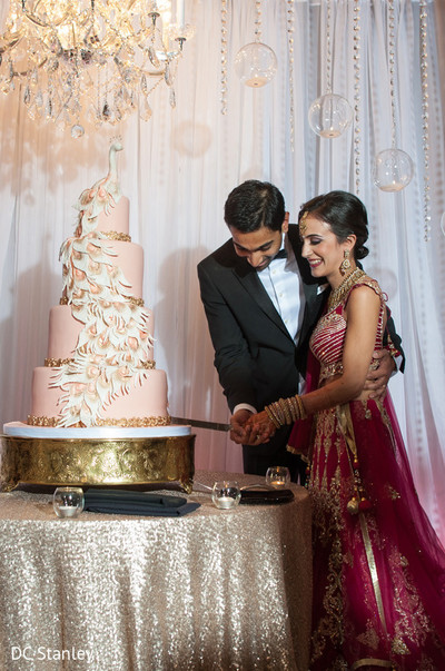 Cake Cutting in Houston, TX Indian Wedding by DC Stanley