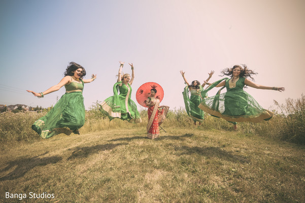 Bridal Party Portrait in Ontario, Canada Indian Wedding by Banga Studios