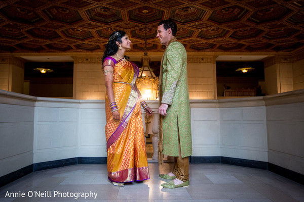 First Look in Pittsburgh, PA Indian Fusion Wedding by Annie O'Neill Photography