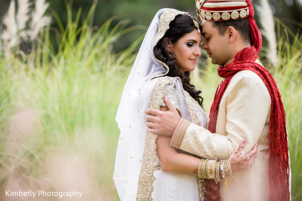 First Look in Orlando, FL Indian Fusion Wedding by Kimberly Photography