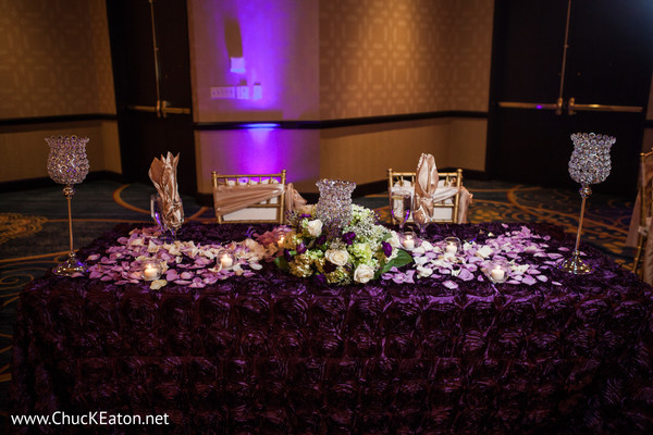 Reception Decor in Charlotte, NC Indian Wedding by Chuck Eaton Photographers