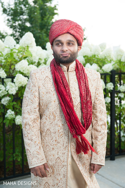 Groom Portrait in Chicago, IL South Asian Wedding by Maha Designs