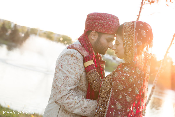 First Look in Chicago, IL South Asian Wedding by Maha Designs
