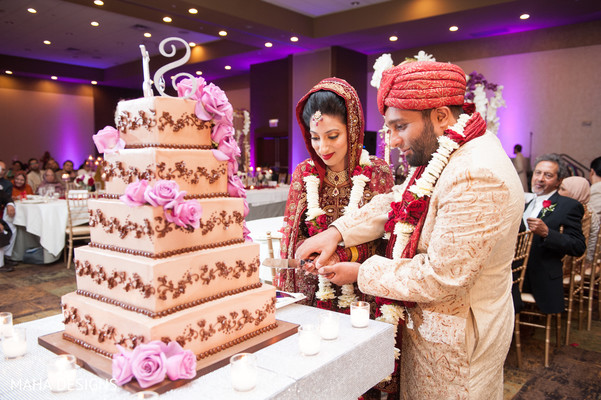 Cake Cutting in Chicago, IL South Asian Wedding by Maha Designs