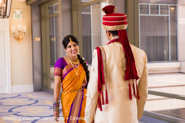 First Look in San Jose, CA Indian Wedding by Wedding Documentary Photo + Cinema
