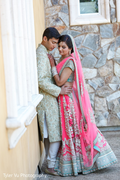 First Look in Sacramento, CA Indian Wedding by Tyler Vu Photography