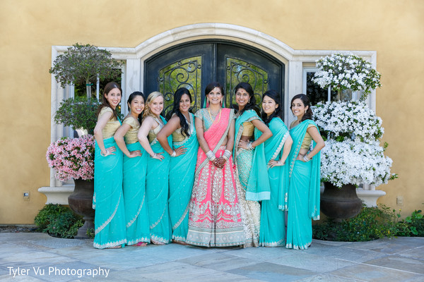 Bridal Party in Sacramento, CA Indian Wedding by Tyler Vu Photography