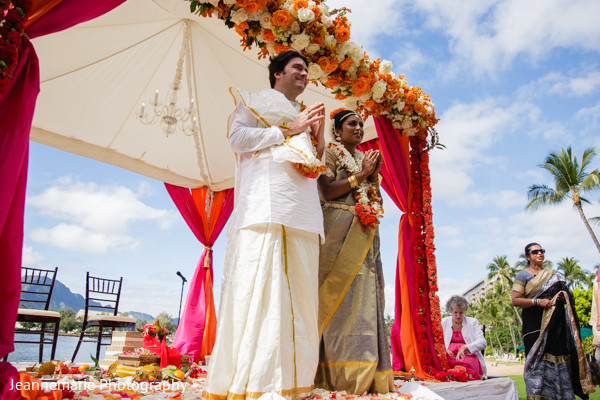 Ceremony in Lihue, HI South Indian Fusion Wedding by Jeannemarie Photography