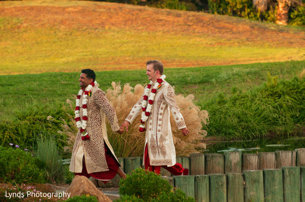 First Look in Brentwood, CA Indian Fusion Wedding by Lynds Photography