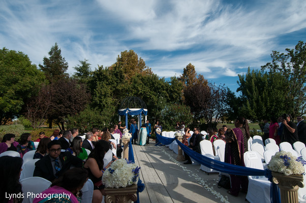 Ceremony in Brentwood, CA Indian Fusion Wedding by Lynds Photography