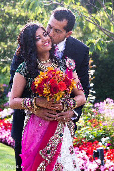 Reception Portrait in Uniondale, NY Indian Wedding by SX Studios