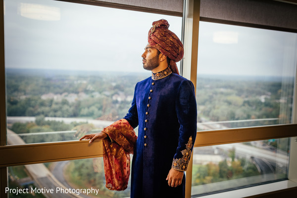 Groom Portrait in Tysons Corner, VA Pakistani Wedding by Project Motive Photography