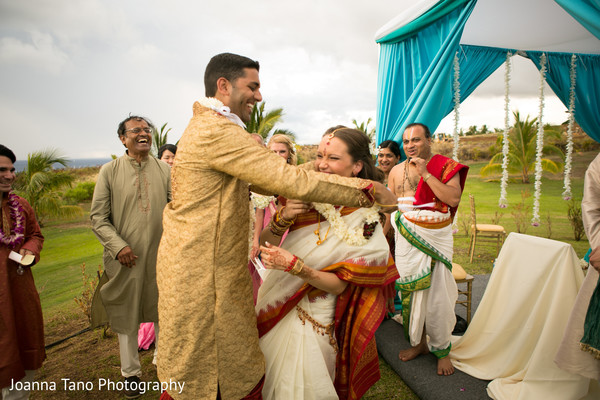 Ceremony in Maui, Hawaii Destination Indian Wedding by Joanna Tano Photography