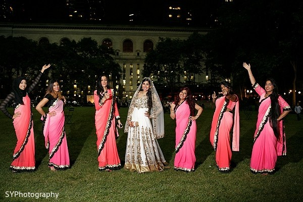 Bridal Party Portrait in Woodbury, NY Pakistani Wedding by SYPhotography