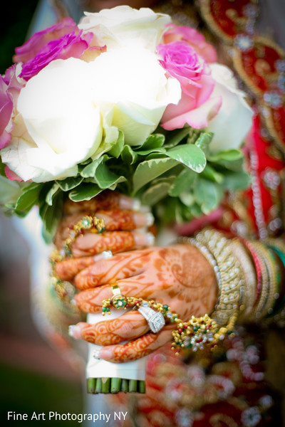 Bridal Bouquet in Brooklyn, NY Indian Wedding by Fine Art Photography