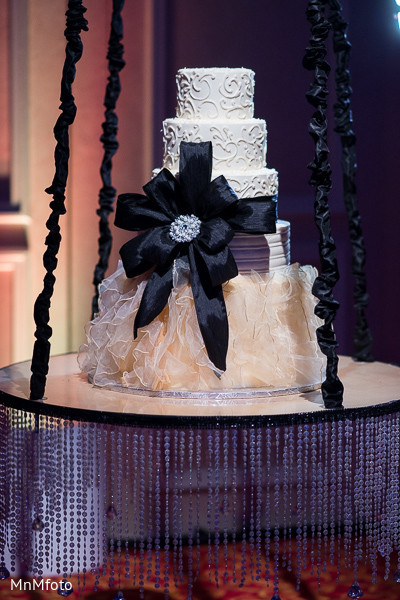 Reception Cake in Dallas, TX Fusion Indian Wedding by MnMfoto Wedding Photography