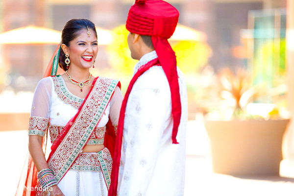 First Look in Long Beach, CA Indian Wedding by Braja Mandala Photography