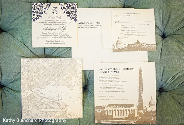 Stationery in Washington, D.C. Indian Fusion Wedding by Kathy Blanchard Photography